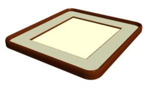 画像1: 色紙額 木枠隅丸 落とし型 (1)