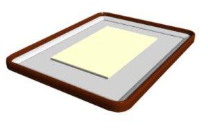 画像1: 色紙額 木枠隅丸 浮かし型 (1)