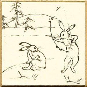 画像1: 豆色紙 印刷色紙「鳥獣戯画 3」 5枚入 (1)